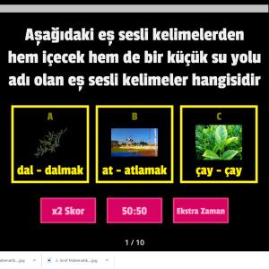 Eğitici Türkçe Eş Sesli Kelimeler Oyunu